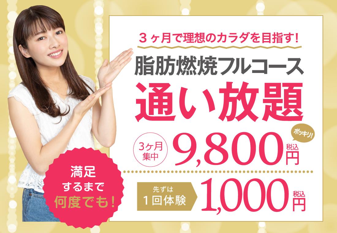 脂肪燃焼フルコースまずは1回体験1000円